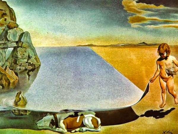 Dalí a los seis años, cuando creía ser una niña, levantando la piel del agua para ver a un perro que duerme a la sombra del mar . Salvador Dalí, 1950