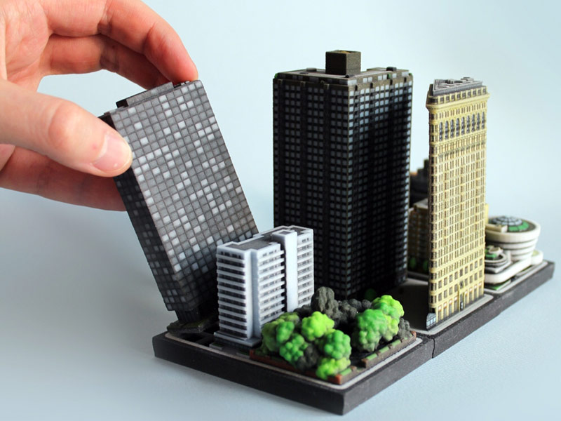 Building collector 3d printed miniature buildings by ittyblox for Miniature architecture
