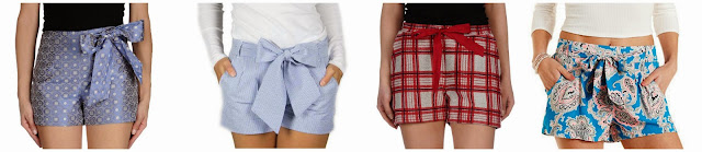 I am loving this bow shorts trend! Here are some of my favorites from designers for $72 - $120 and one from Charlotte Russe for $19.99. Can you guess which ones are the less expensive shorts? Click the links below to see if you are correct!