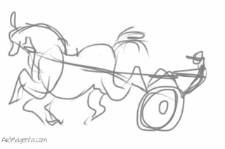 Horse trotting, a gesture drawing by ArtMagenta drawn on iPhone.