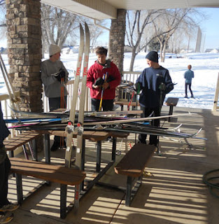 Providing skis for cross country skiers