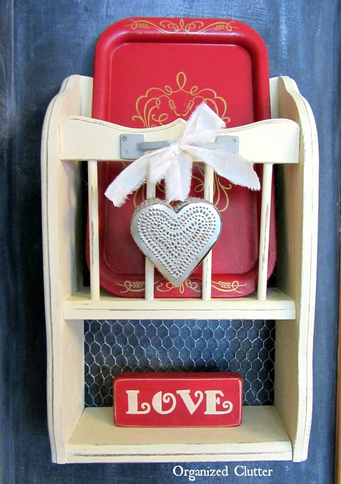 Salvaged Shelf Valentine's Day Decor www.organizedclutterqueen.blogspot.com