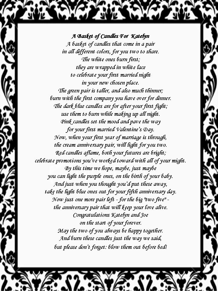 Wedding Gift Poems : Bridal Shower Gift: Candle Poem BasketThe Melrose Family