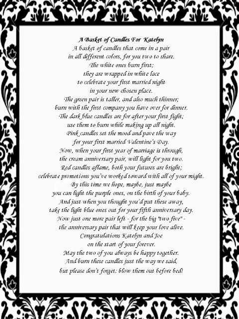 i created the poem surrounded by a similar damask you can download your own bridal shower candle poem for free