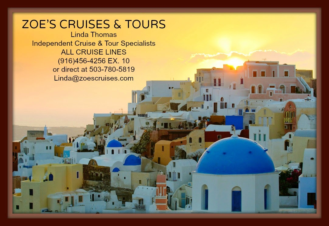 Linda with Zoe's Cruises & Tours -  Fun cruising tips & photos.