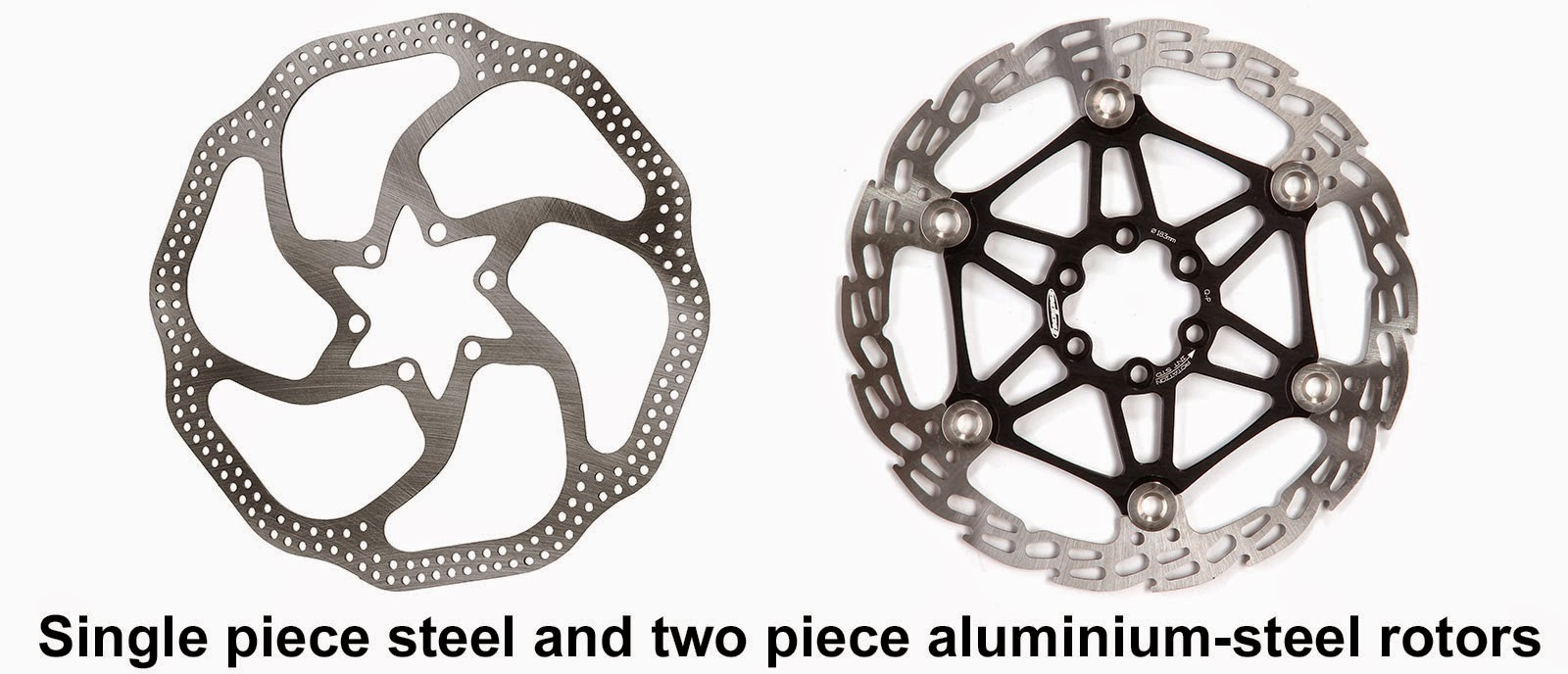 Single piece steel and two piece aluminium-steel mtb rotors