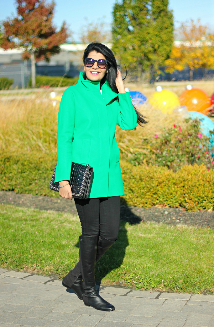JCrew Factory City Coat, Zara Chain Croc Bag, Quilted Leather Bag, Vince Camuto Karita Over The Knee