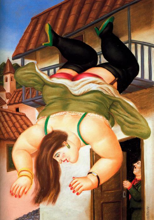 Fernando Botero - Woman falling from a balcony - Mujer cayendo de un balcon - 1994