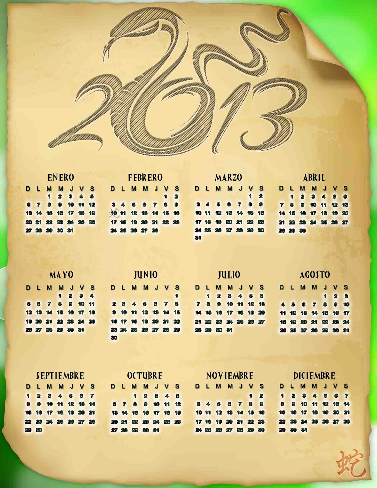 Calendario chino 2013 de la serpiente