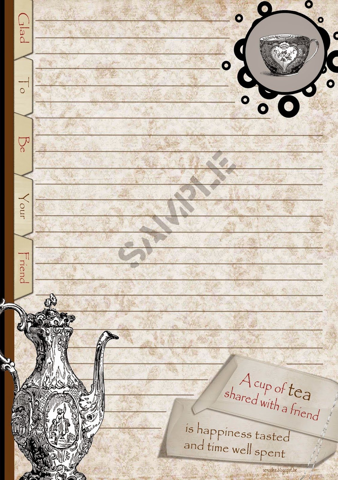 briefpapier thee, stationery tea