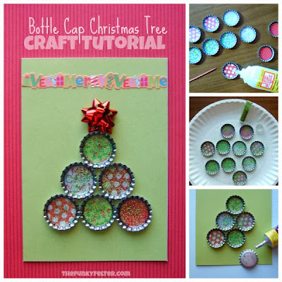 The Funky Felter Bottle Cap Christmas Tree Card Craft Tutorial