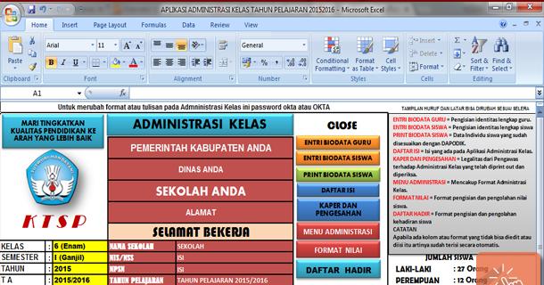 Download Aplikasi Administrasi Kelas Sd Lengkap Dengan Microsoft Excel Sisi Edukasi