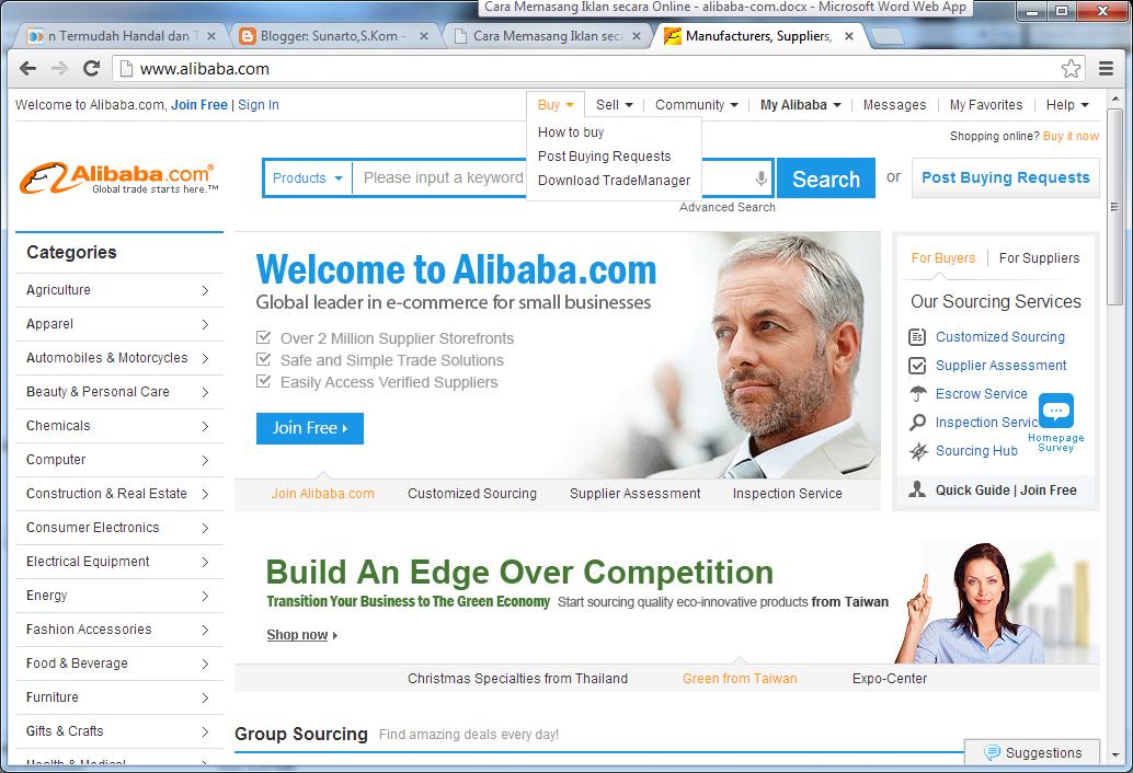 Cara Pasang Iklan Di Alibaba Com Sunarto S Kom
