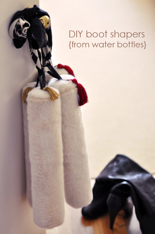 diy boot stuffers from water bottles, faux fur and tassels