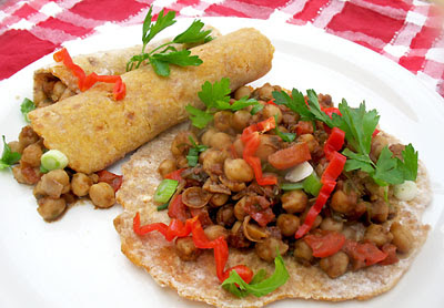 jerk chickpeas and roti