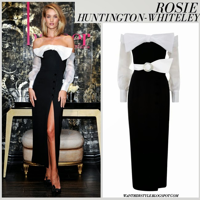 Rosie Huntington-Whiteley in black white bow off the shoulder long dress with organza sleeves from Alessandra Rich april 21 want her style blonde hairstyle