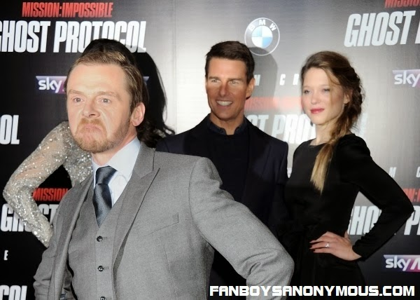 Star Trek's Scotty Simon Pegg photobombs Tom Cruise at a Mission Impossible movie promo event