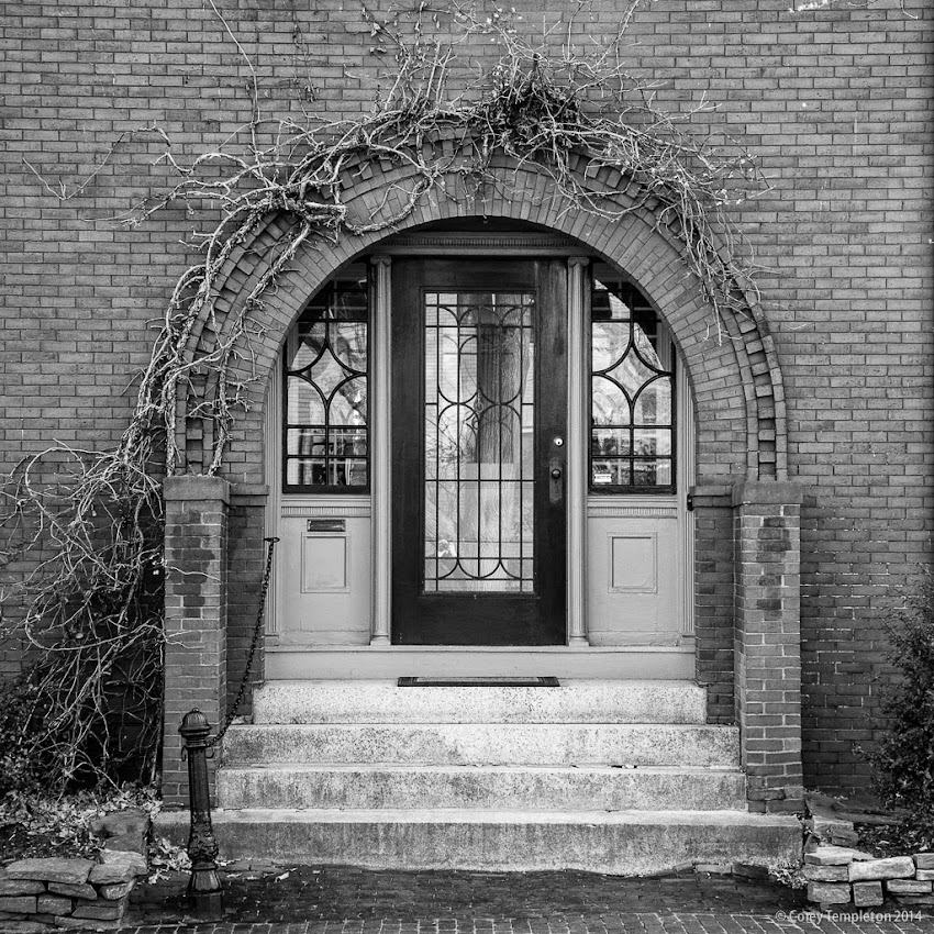 Portland, Maine West End Doorway November 2014 black and white photo by Corey Templeton