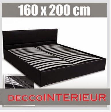 decco interieur lit cuir design coffre 160 x 200 sommier a lattes metal. Black Bedroom Furniture Sets. Home Design Ideas