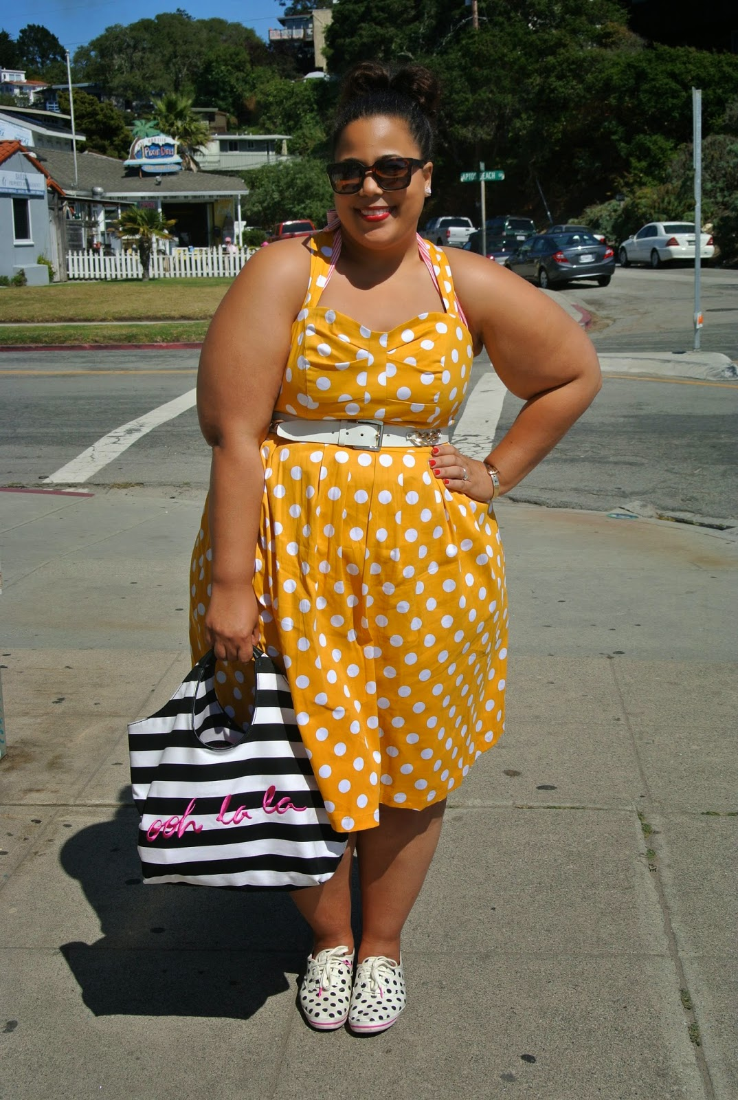 Santa Cruz Travel, Plus Size Polka Dot Dress