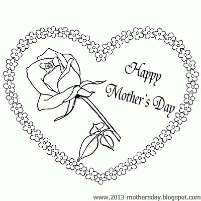 Happy Mothers Day Heart Flower Coloring Pages