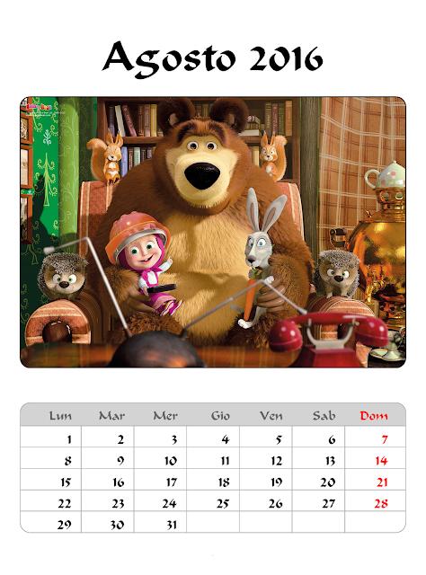 Calendario 2016 - Masha e Orso - Agosto