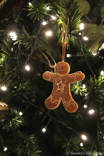 Happy just hangin' - Gingerbread man Christmas tree decoration photograph