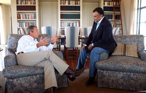 President George W. Bush and Saudi ambassador to the U.S., Prince Bandar bin Sultan