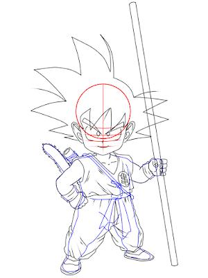 cara menggambar Goku kecil tahap 18
