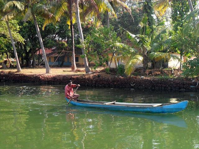 Индия Керала лодка берег с пальмами