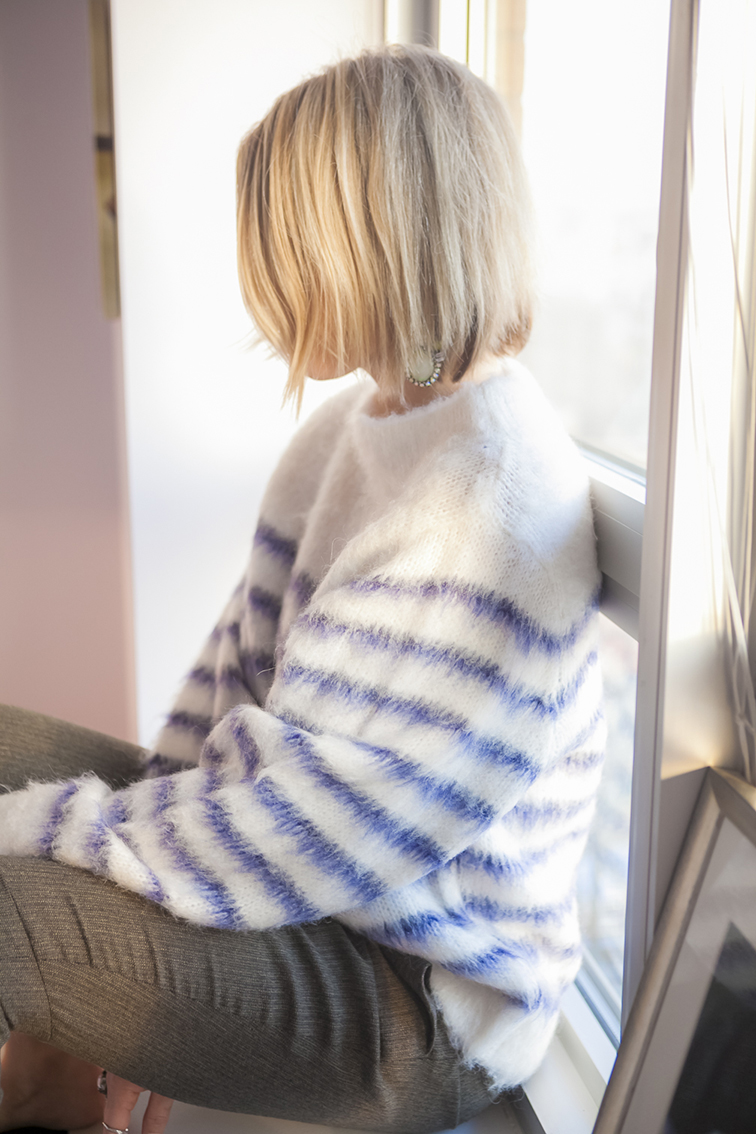 Fuzzy H&M boat neck striped knit sweater, Chloé wool pants
