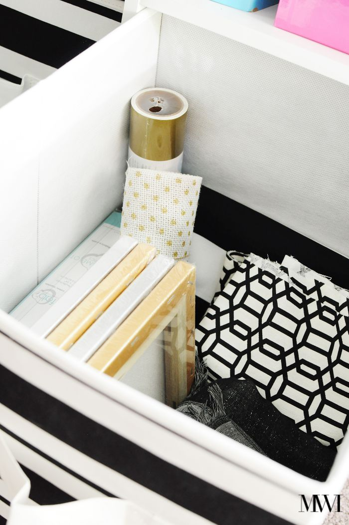 storage bin black white stripes striped BHG cube organizer
