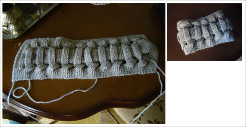 Cuello, tejido, lana, dos agujas