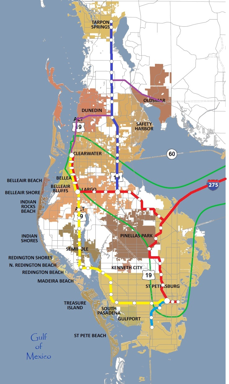 the blue line serves northern pinellas along us 19 the major north south route up to tarpon springs the yellow line serve western st petersburg and