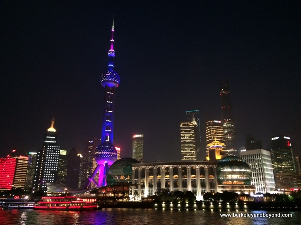 night skyline from Huangpu River tour in Shanghai, China