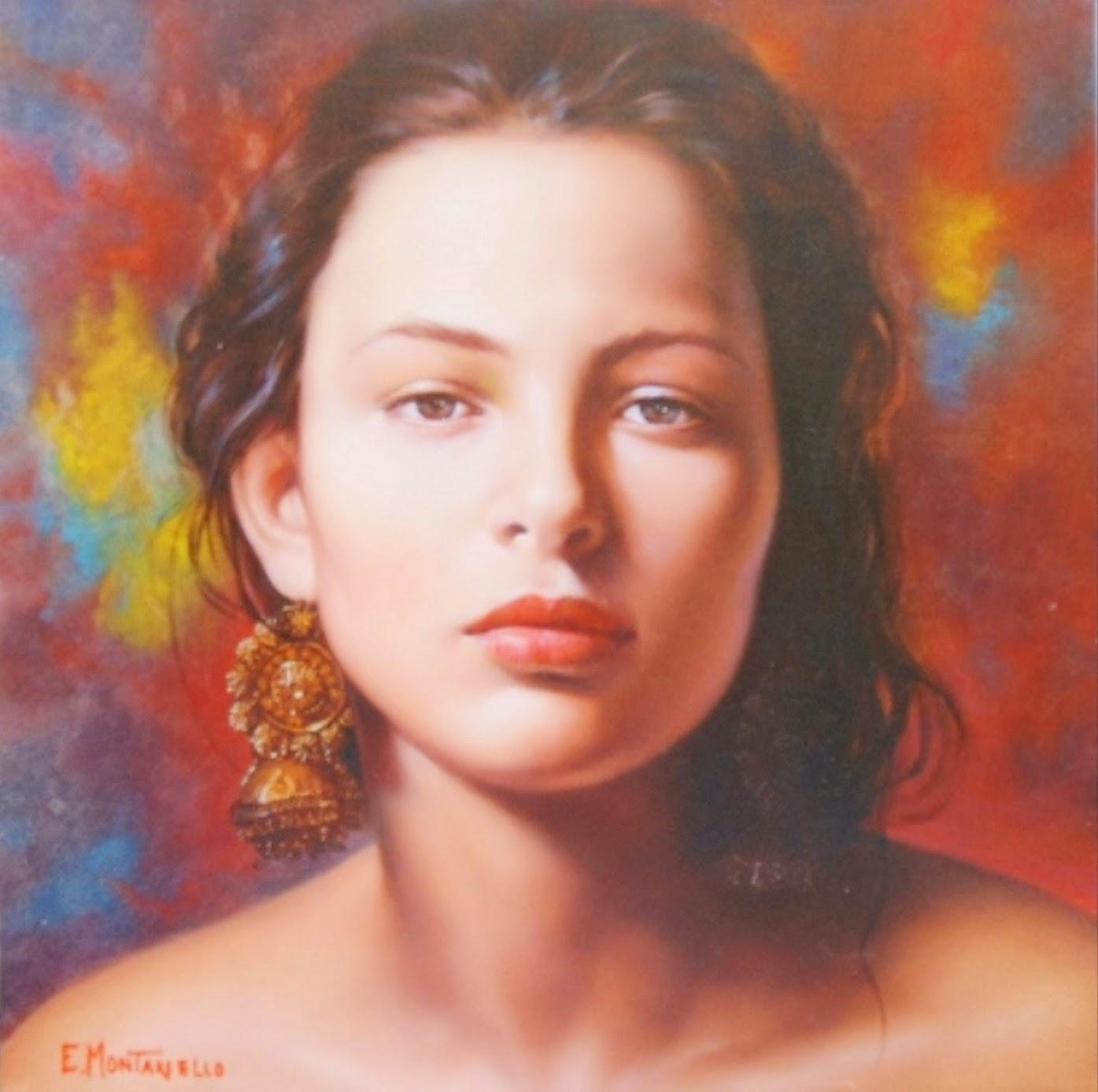 Cuadros modernos pinturas y dibujos retratos de chicas for Pintura color lino