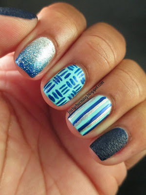 Sally Hansen Laughie Taffy, Kleancolor Light Teal, blue, skittle, skittlette, ombre, gradient, cross stitch, stripes, textured, nails, nail art, nail design, mani