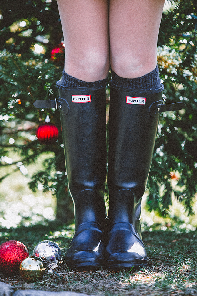 christmas look hunter boots