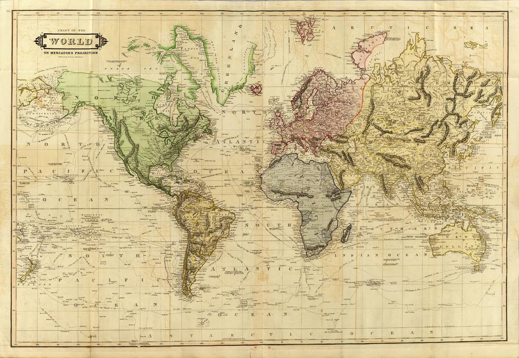 Mapas histricos del mundo Mapamundi  Siglo XIX