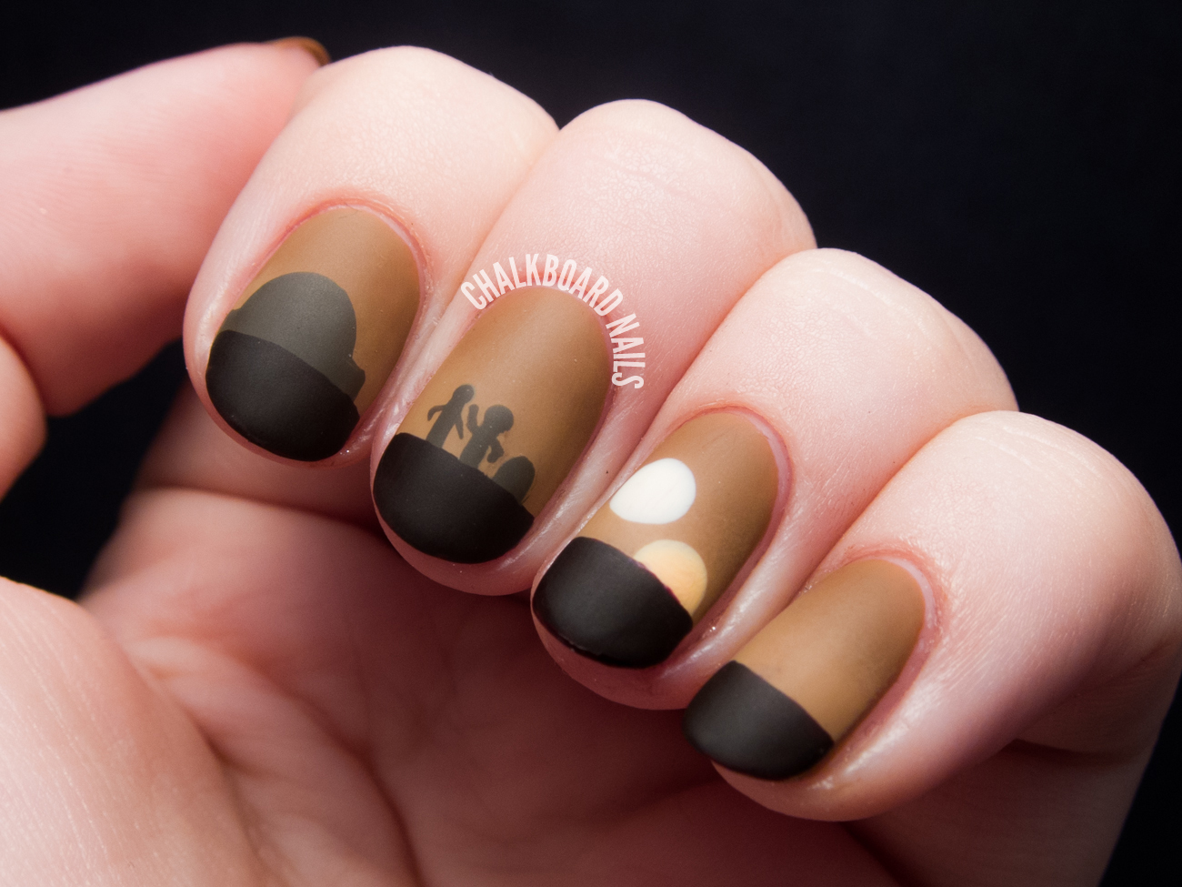This nail art shows Luke with the two droids as the planet's twin suns set  on the horizon. - Sunset On Tatooine - Star Wars Nail Art Chalkboard Nails Nail