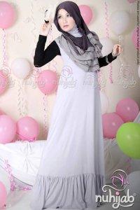 Nuhijab Dress Plain Rample (DPR) - Silver (Toko Jilbab dan Busana Muslimah Terbaru)