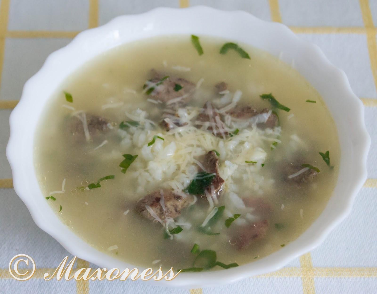 Рисовый суп из куриной печенки