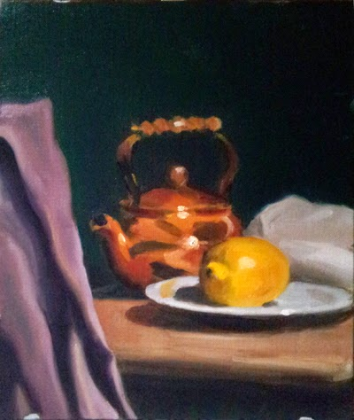 Oil painting of a copper kettle beside a lemon on a plate on a table top with a purple cloth draped diagonally in the foreground.