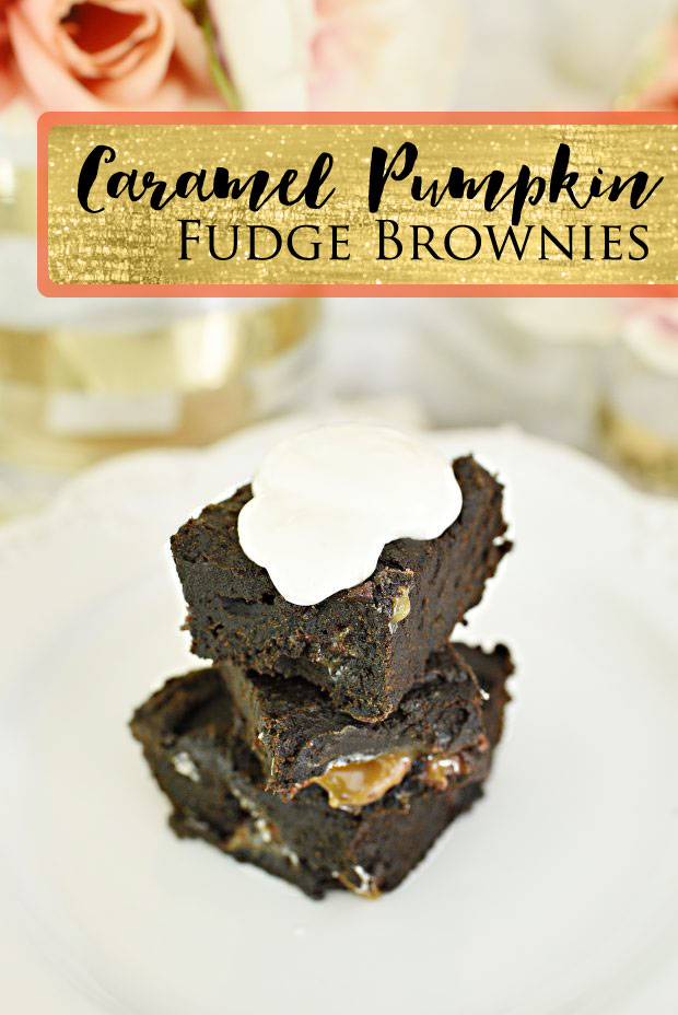 These three ingredient caramel pumpkin brownies are so easy and come out tasting like a decadent piece of fudge (with far less calories!)