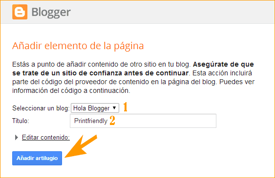 PrintFriendly - Añadir gadget a Blogger