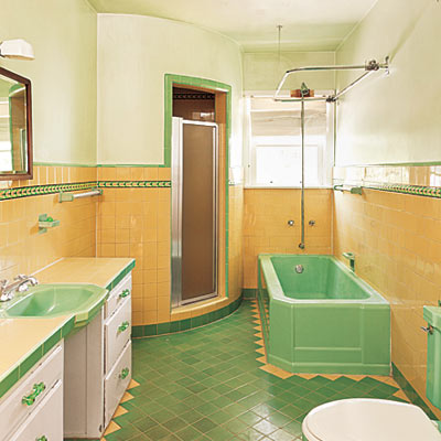 An american housewife vintage bathrooms for Yellow and green bathroom ideas