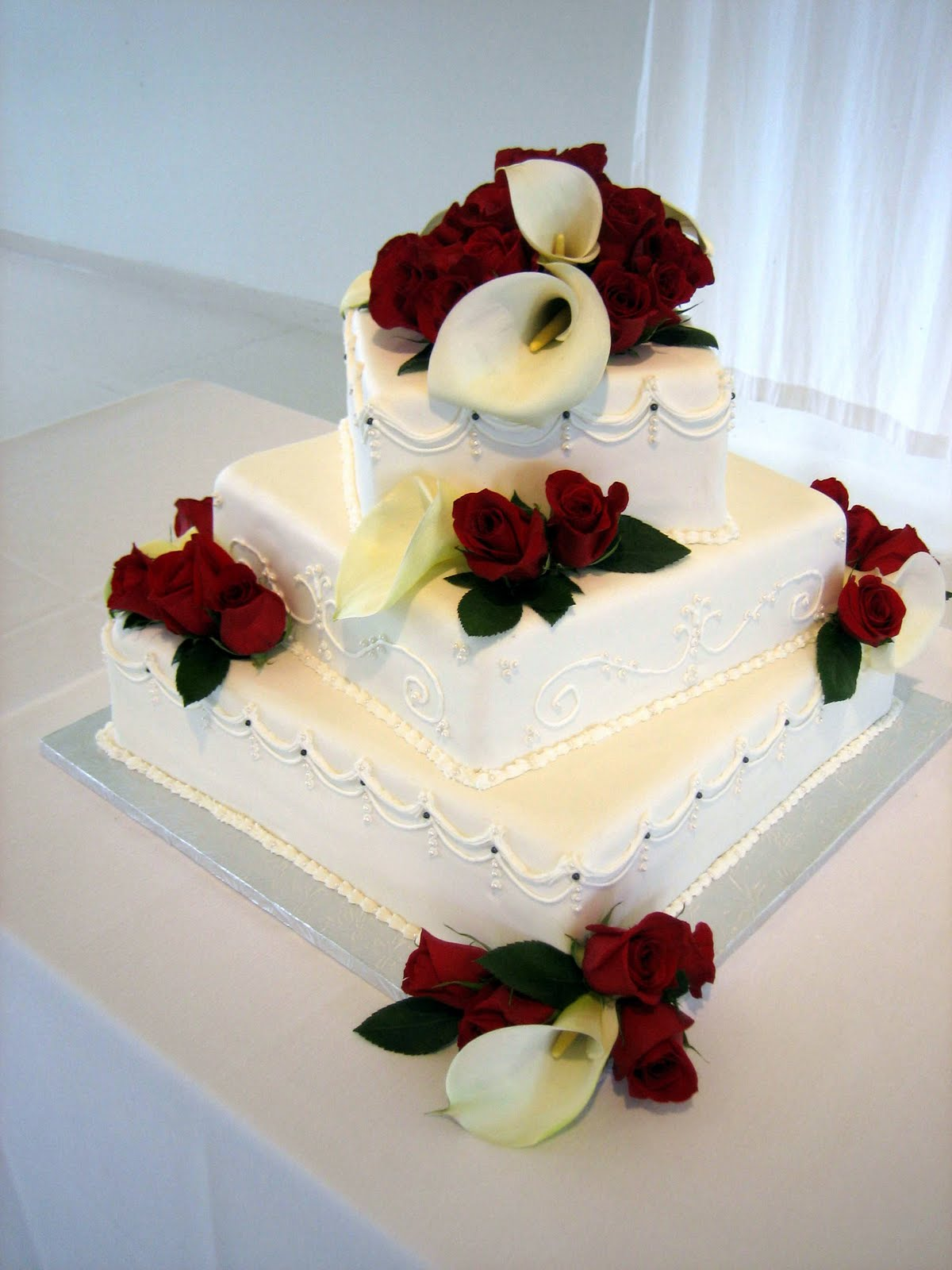 Wedding Cakes With Roses And Calla Lilies - Calla Lilly Wedding Cake