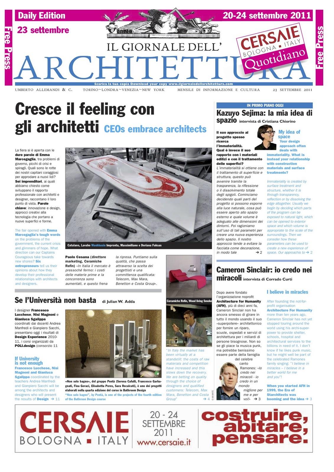 Rassegna stampa geberit settembre 2011 for Giornale architettura