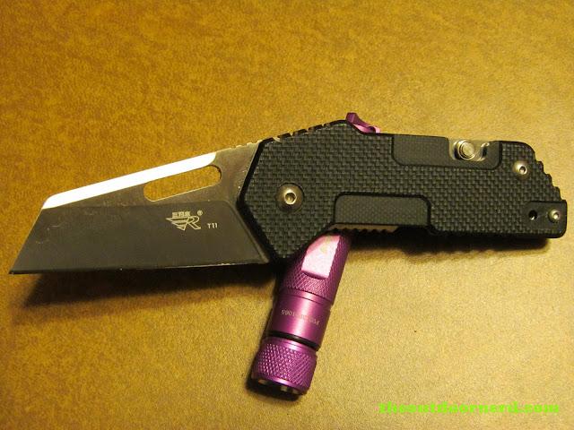 Sanrenmu GB-T11 Pocket Knife - shown with Fenix E01 Flashlight