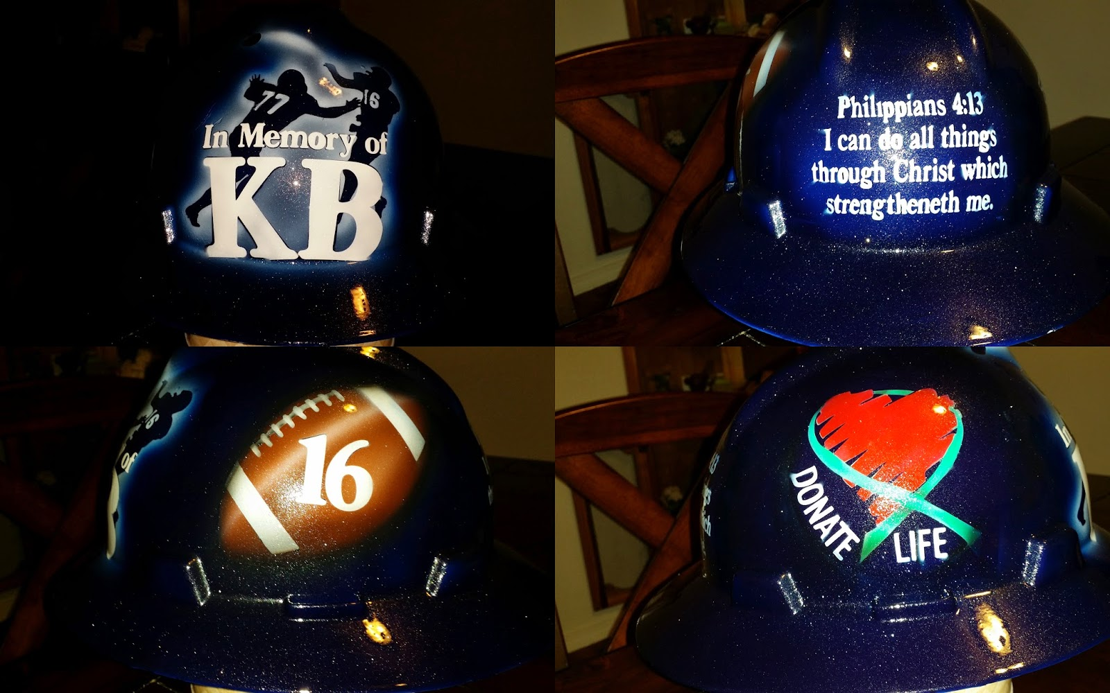 El Reno Indians, football, hard hat, in memory of kb